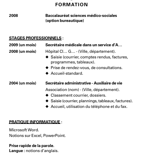 comment faire un cv bafa