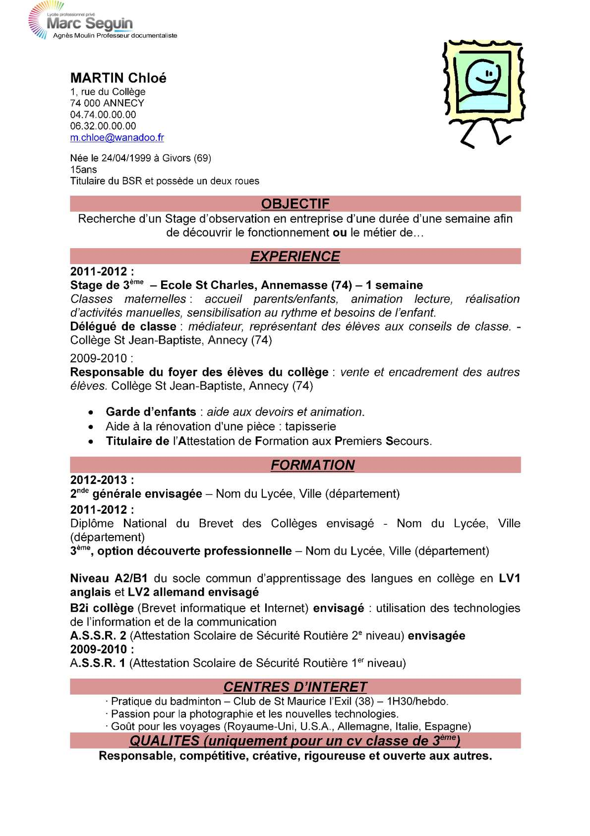 comment faire un cv collegien