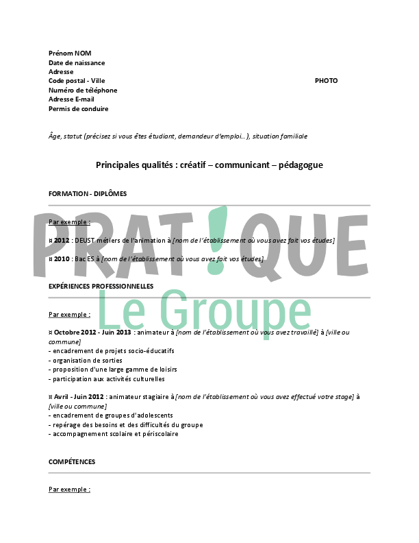 comment faire un cv d u0026 39 adolescent