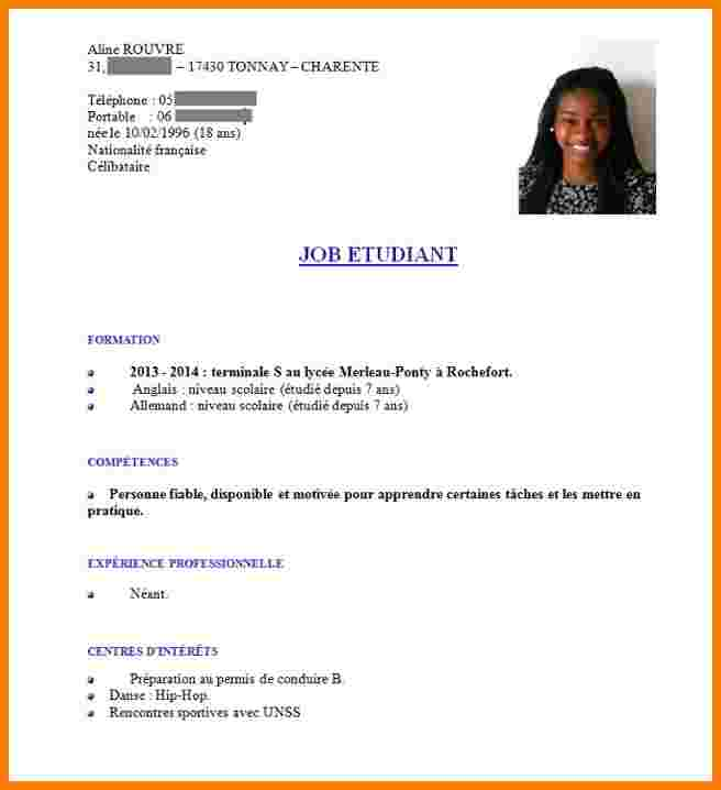 comment faire un cv d'etudiant exemple
