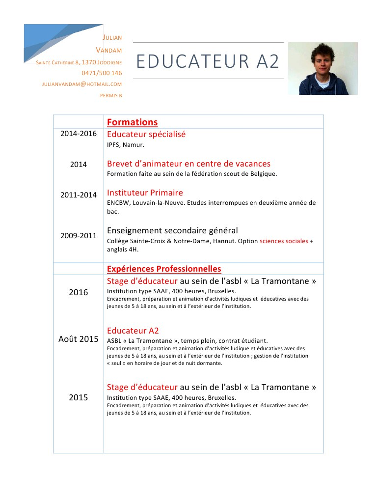 comment faire un cv educateur specialise