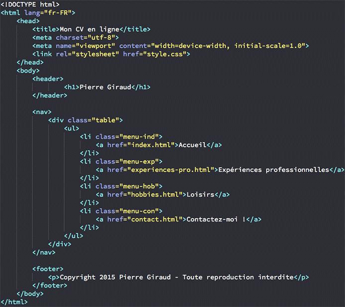 comment faire un cv en html et css
