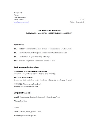comment faire un cv etudiant pdf