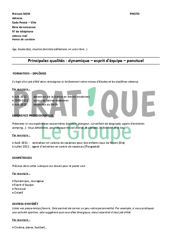 comment faire un cv job ete