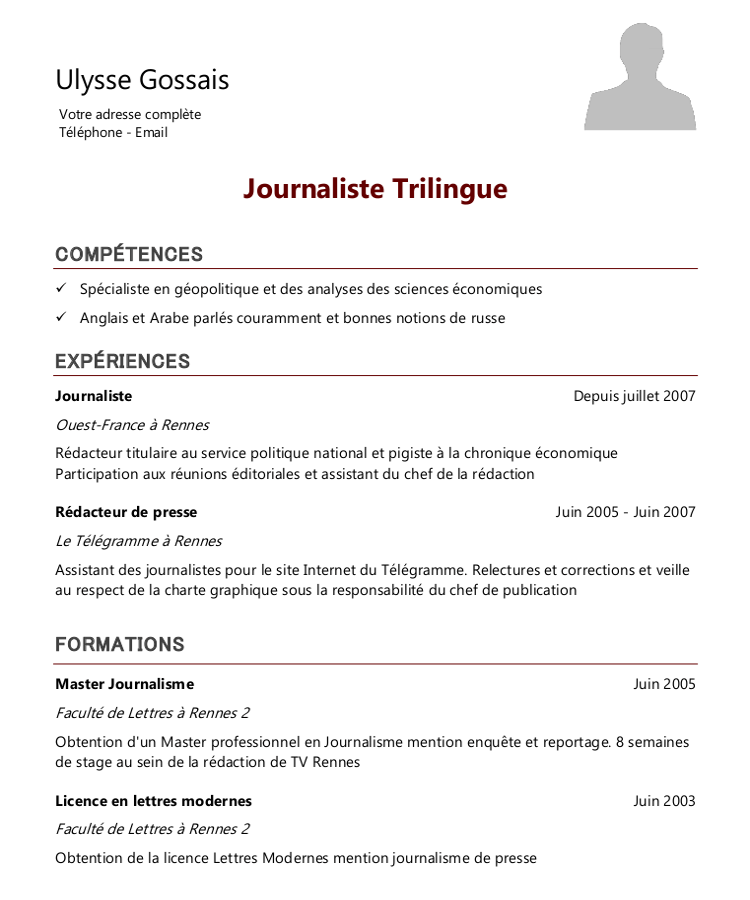 comment faire un cv journaliste