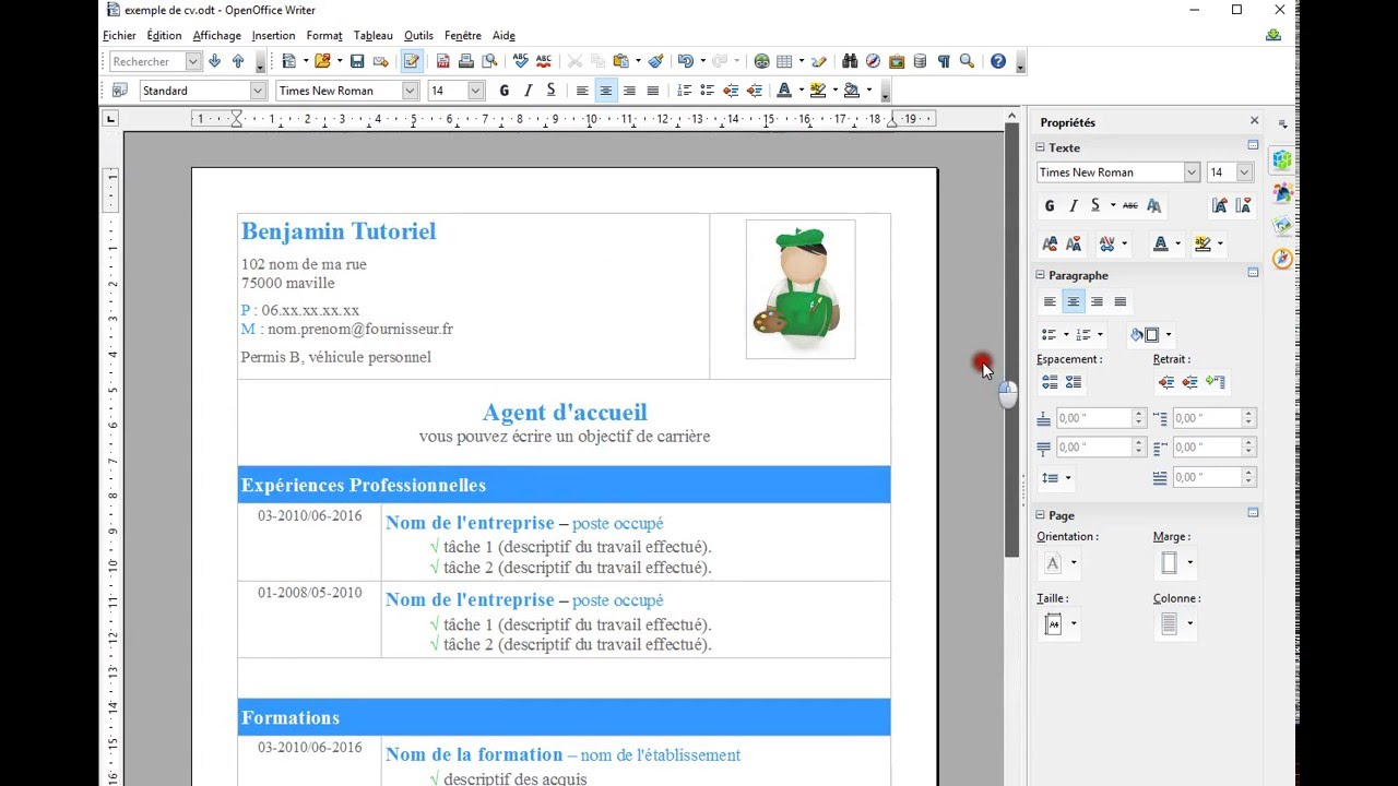 comment faire un cv moderne sur open office