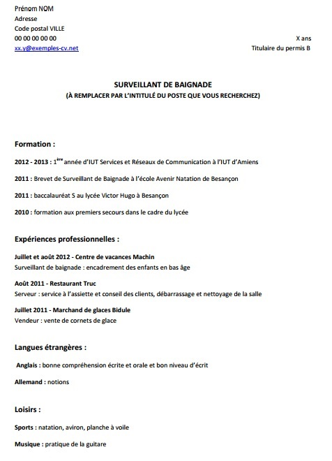 comment faire un cv quand on a pas d'experience