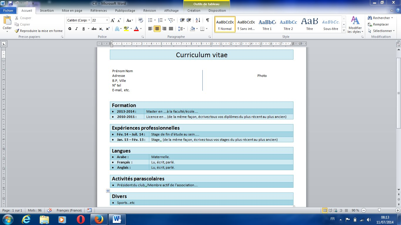 comment faire un cv sur windows 7