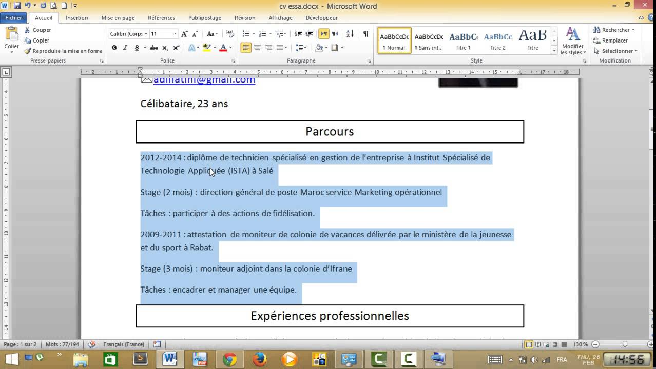 comment faire un cv sur word 2010