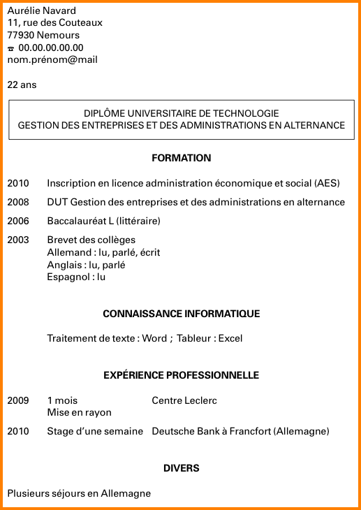 comment faire un cv universitaire