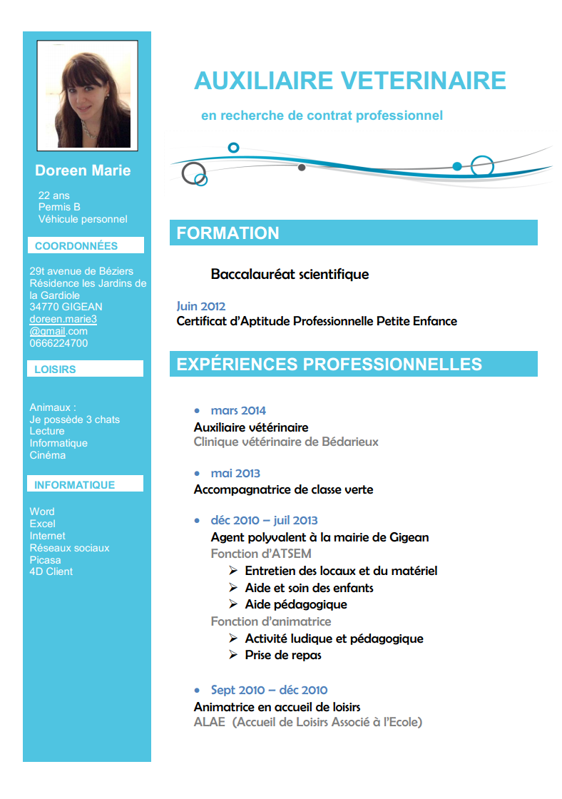 comment faire un cv veterinaire