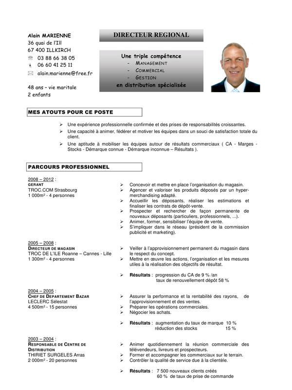 conseil cv directeur commercial