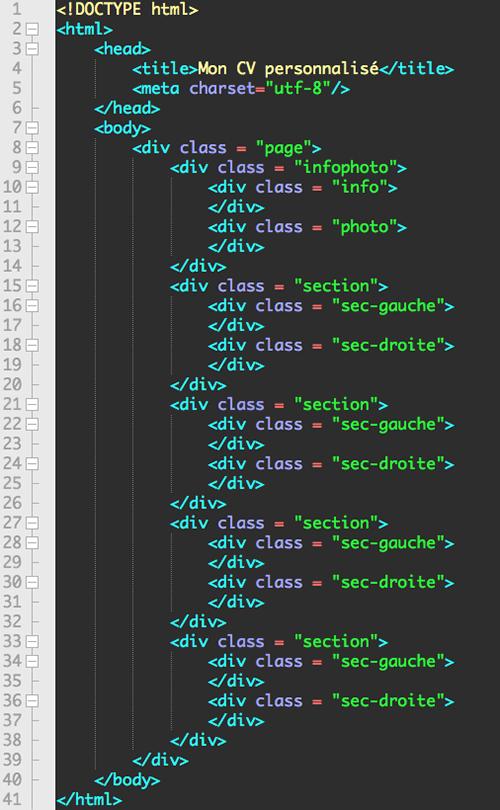 ecrire un cv avec html