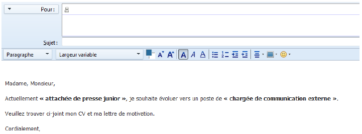 ecrire un cv par mail