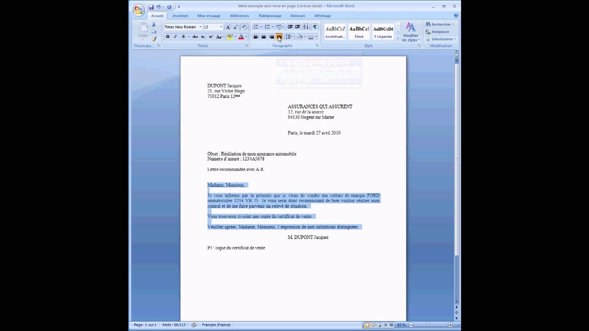 ecrire un cv sur mon ordinateur