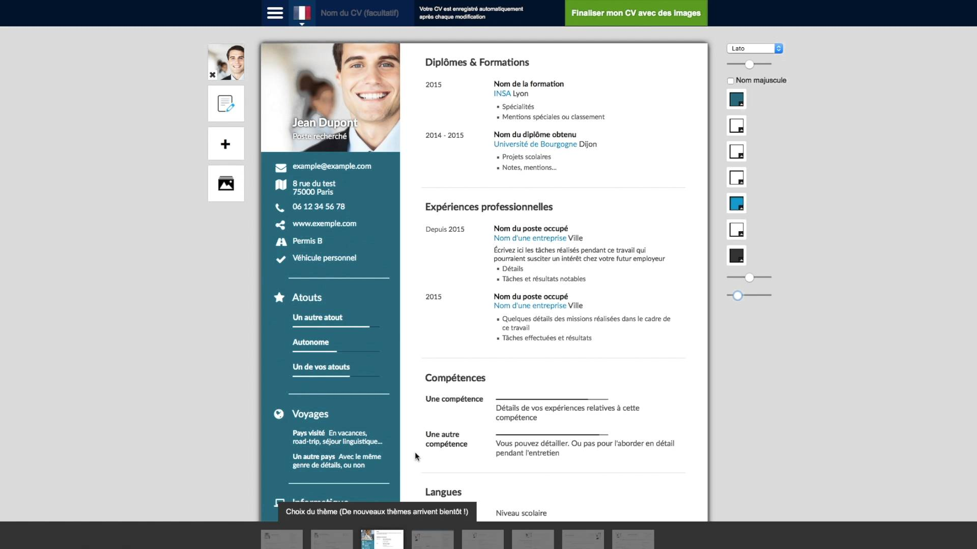 faire un cv application