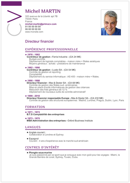 faire un cv centre d u0026 39 interet