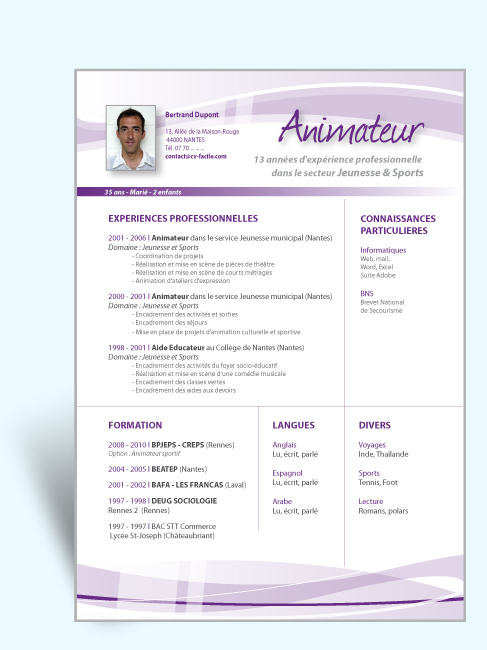 faire un cv d u0026 39 animateur