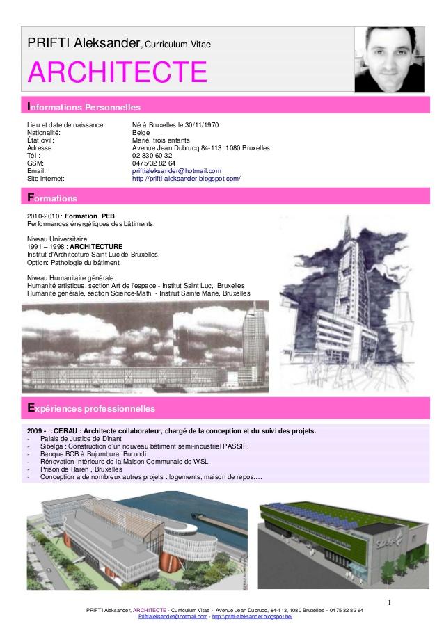 faire un cv d u0026 39 architecte