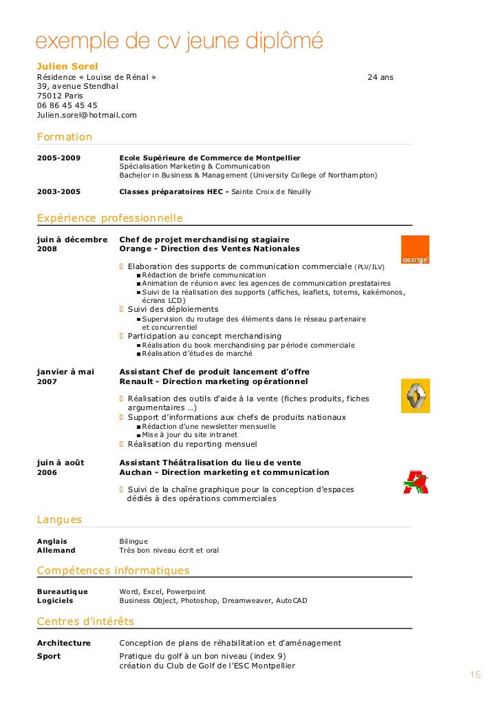 faire un cv ecole de commerce