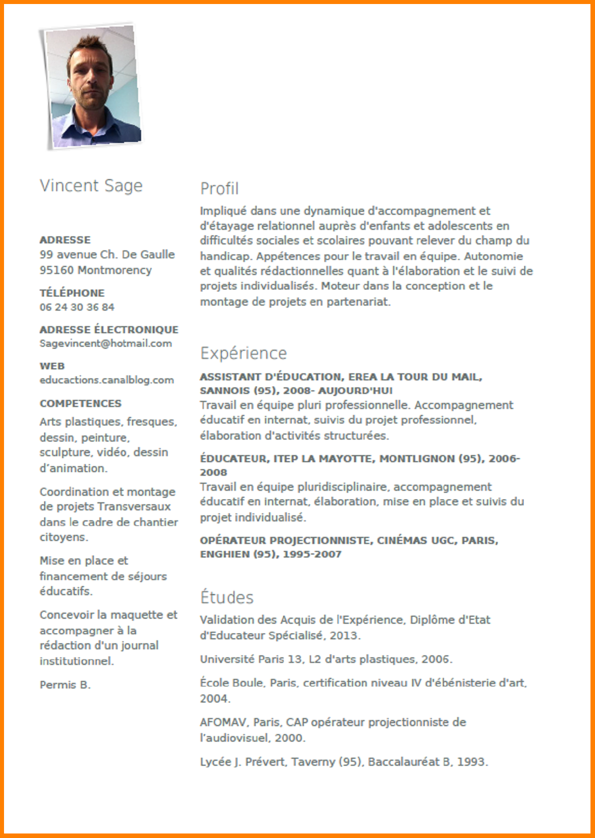 faire un cv educateur specialise