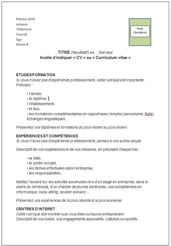 faire un cv format pdf