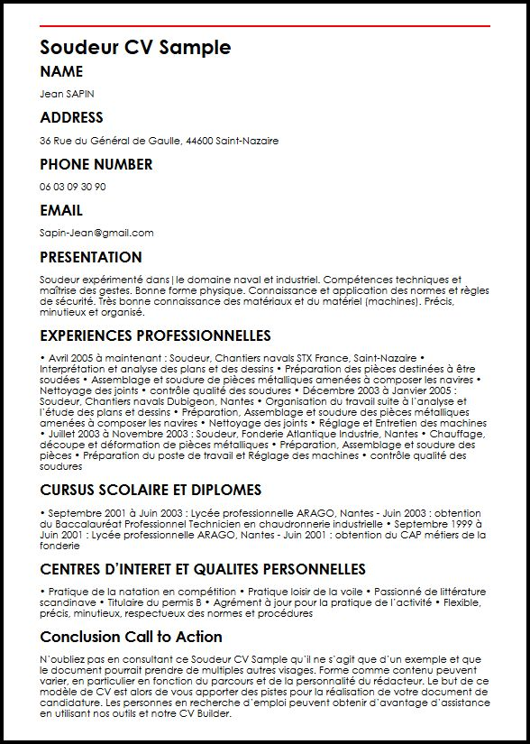 faire un cv industrie