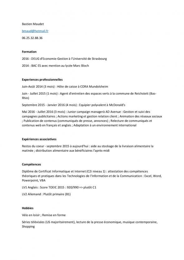 faire un cv job d u0026 39 ete