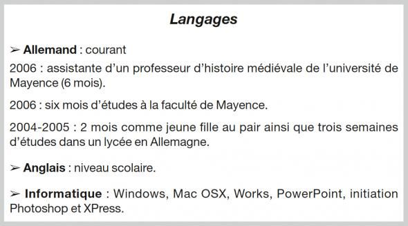 faire un cv niveau langue