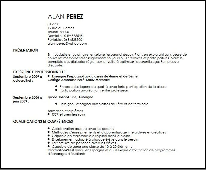 faire un cv quand on est en terminale