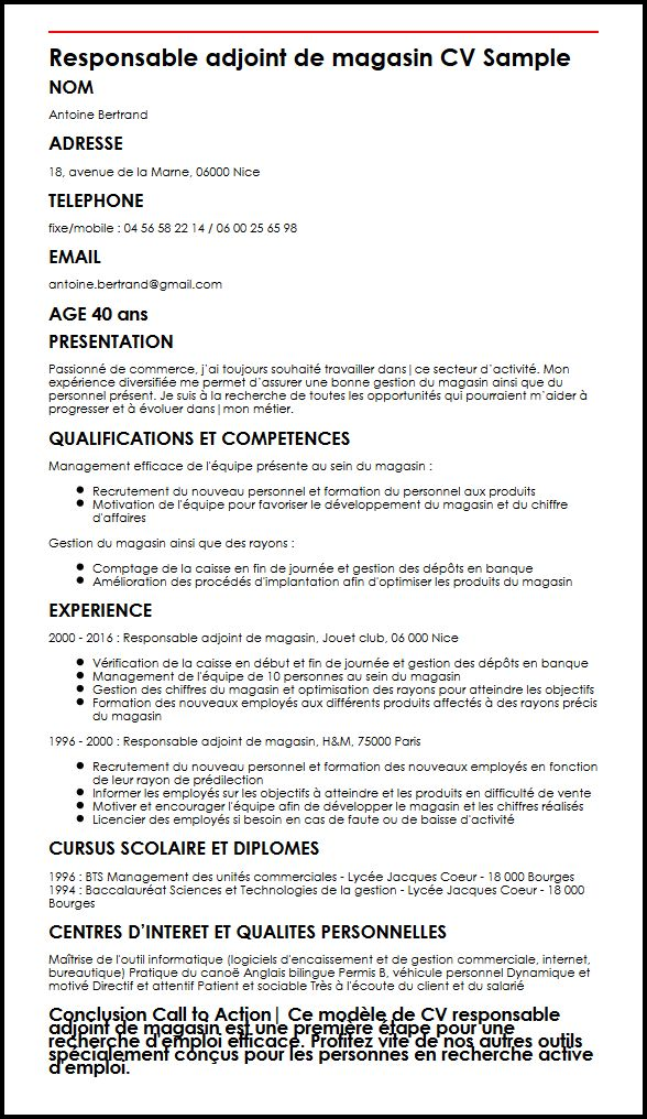 faire un cv responsable magasin