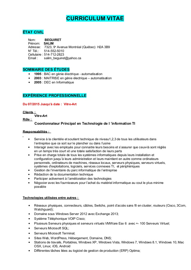 faire un cv sur windows 7