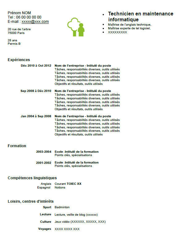 faire un cv technicien informatique