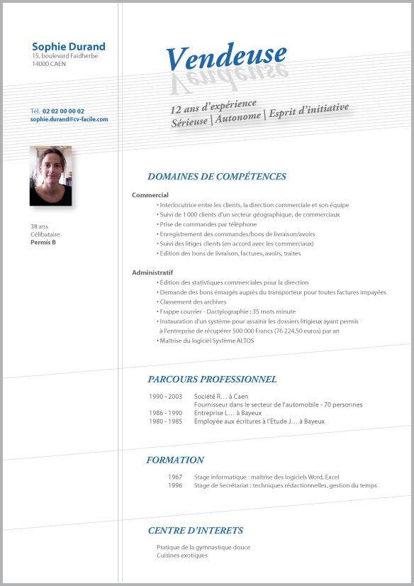 faire un cv vendeuse