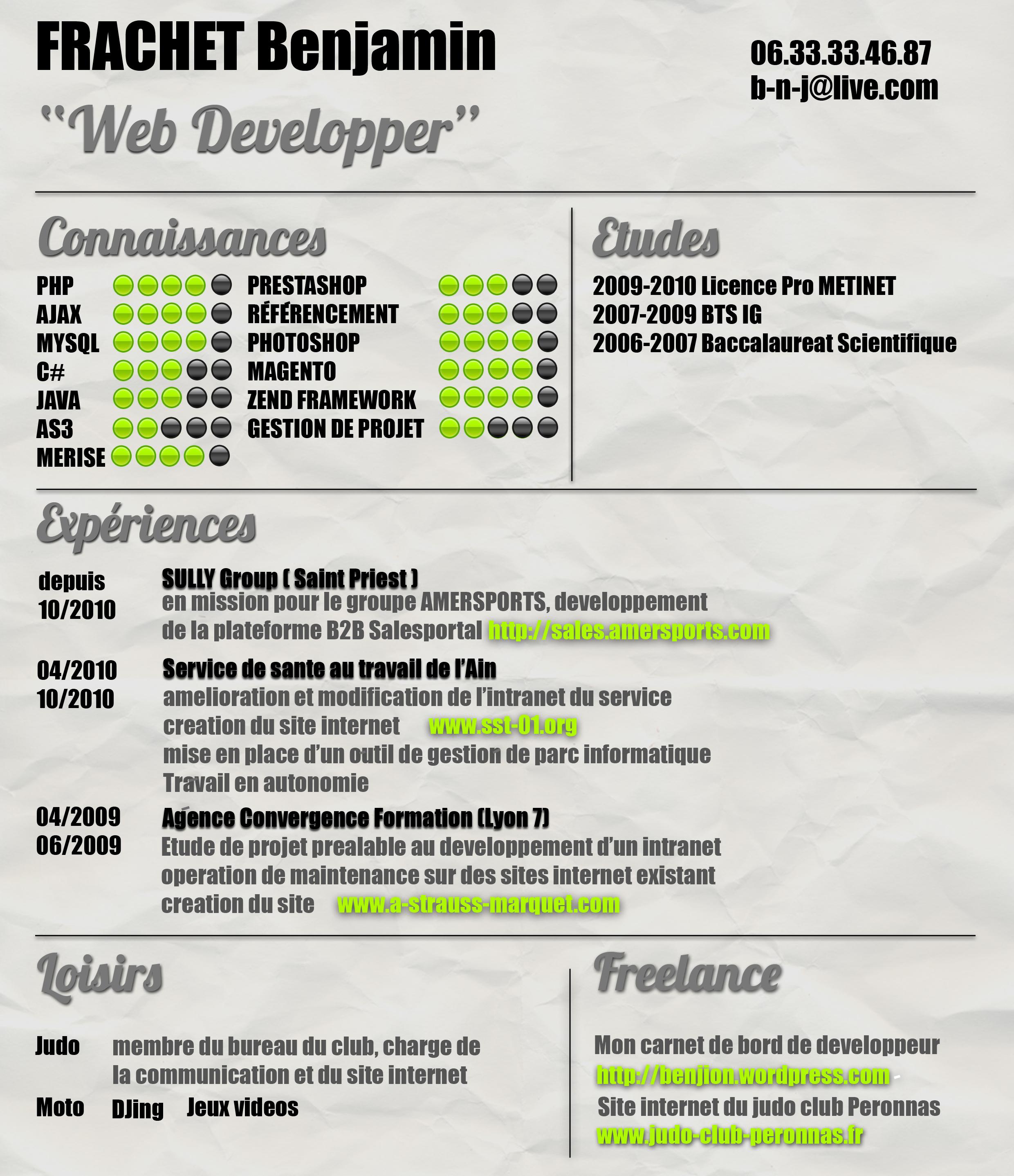 faire un cv web