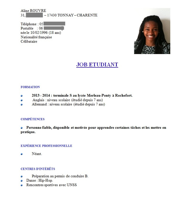 rediger un cv a 16 ans