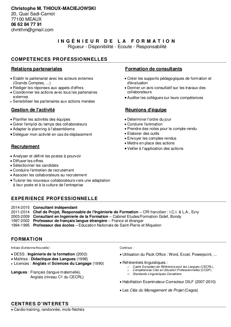 rediger un cv education nationale