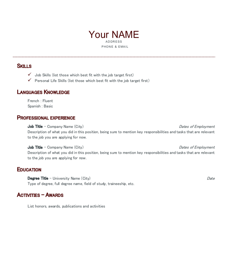 rediger un cv en anglais pdf