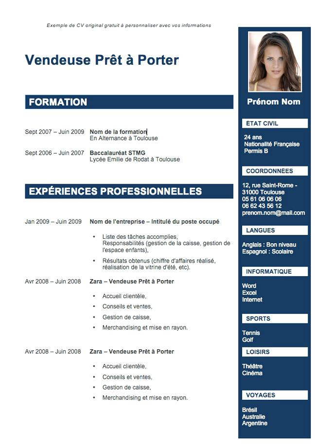 rediger un cv gratuit sans inscription