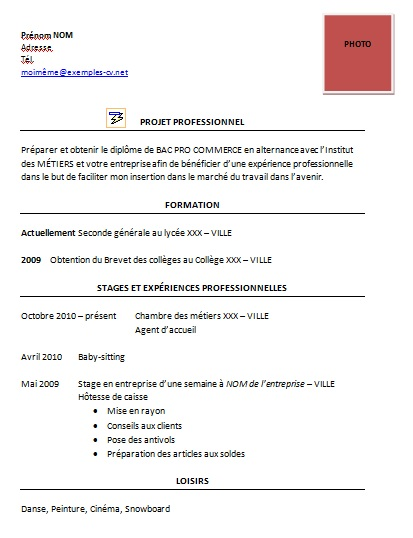 comment faire un cv bac pro commerce