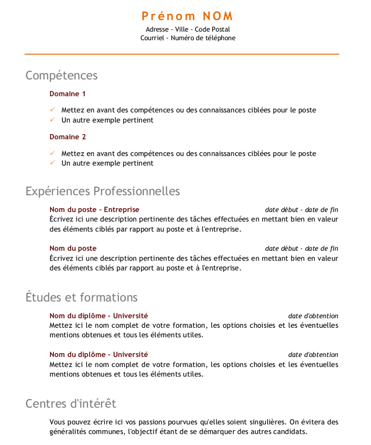 comment faire un cv pour inscription universitaire