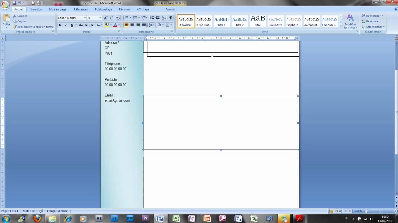 comment faire un cv dans word 2007