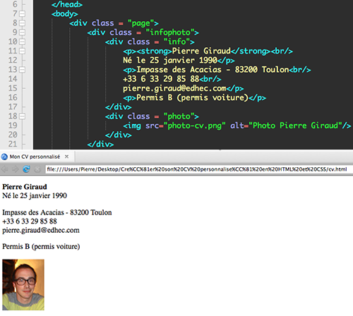 comment faire un cv en html5