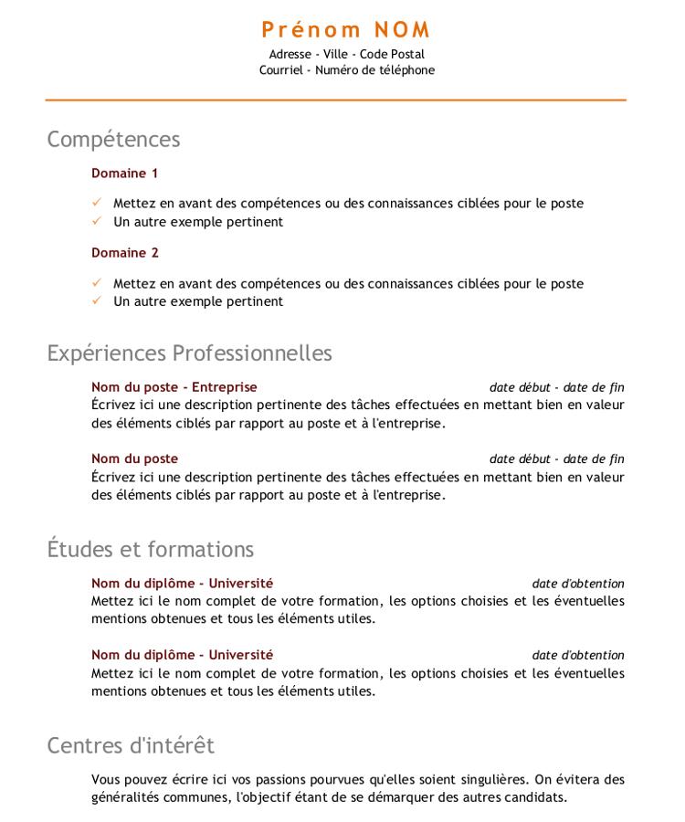 comment faire un cv par competence