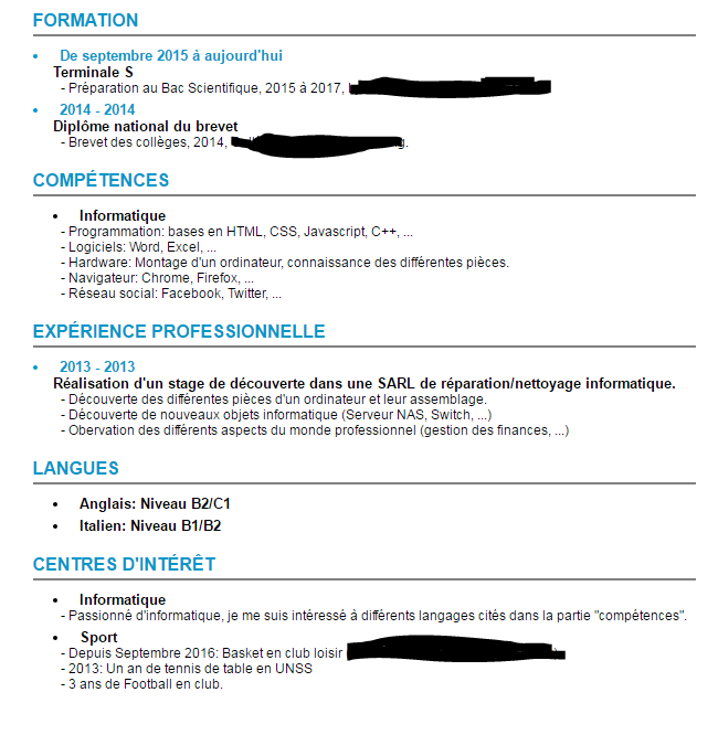 comment faire un cv quand on est en terminale
