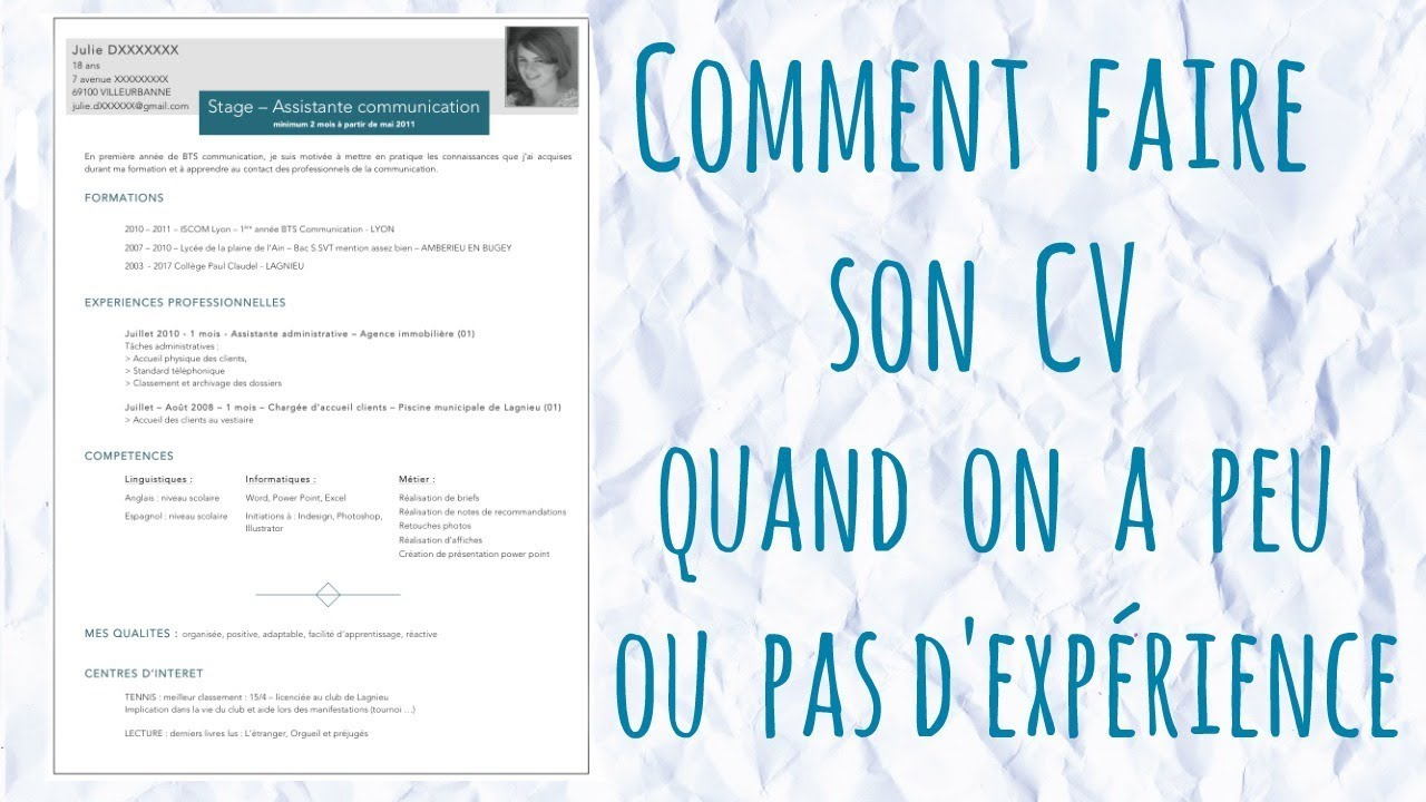 comment faire un cv quand on n u0026 39 a pas d u0026 39 experience