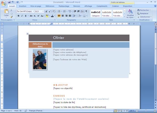 comment faire un cv sous word 2007