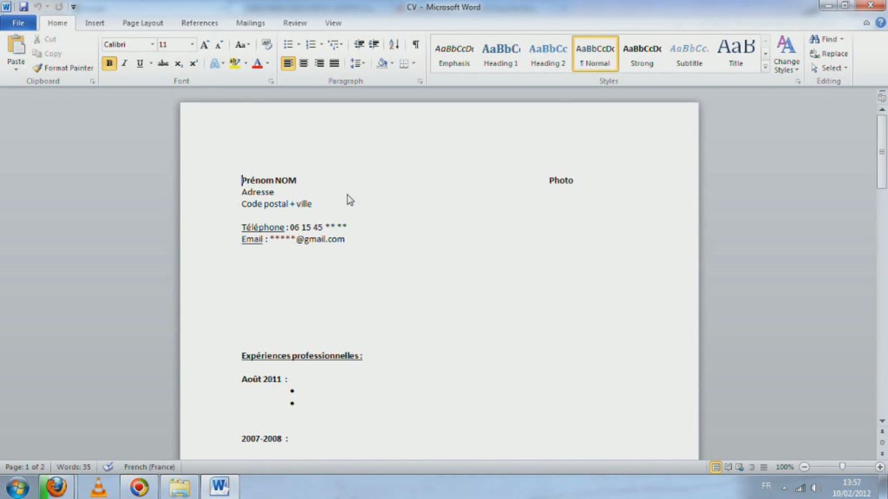 comment faire un cv avec open office