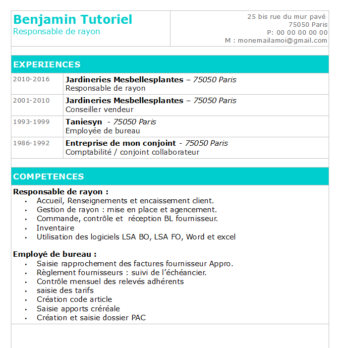 comment faire un cv sur open office
