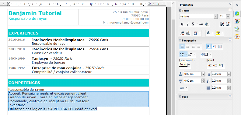 ecrire un cv avec open office